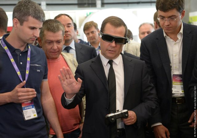 Russian Prime Minister Dimitry Medvedev takes part in a conference for startups and investors at a centre just outside Moscow